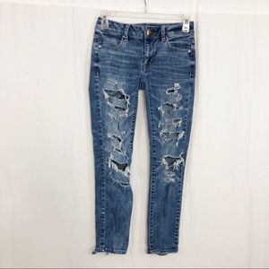 American Eagle Distressed Ankle Jegging Jeans, 0